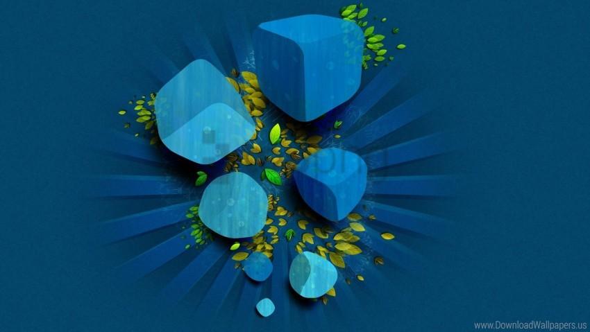 Cube Dark Blue Green Leaves Vector Wallpaper Background Best
