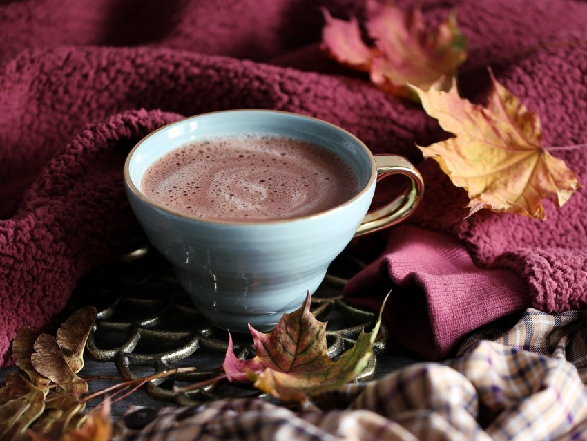 free PNG cup, coffee, comfort, leaves, autumn, foam background PNG images transparent