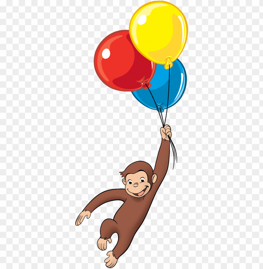 free PNG curious george balloons png - jorge el curioso con globos PNG image with transparent background PNG images transparent