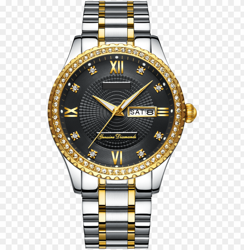 free PNG custom logo classic men's luxury diamond watch - gold mens watch black face PNG image with transparent background PNG images transparent