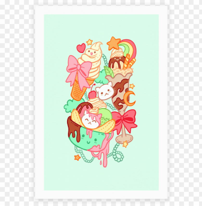 free PNG cute cat sundae kawaii ice cream poster human - kawaii ice cream cat PNG image with transparent background PNG images transparent