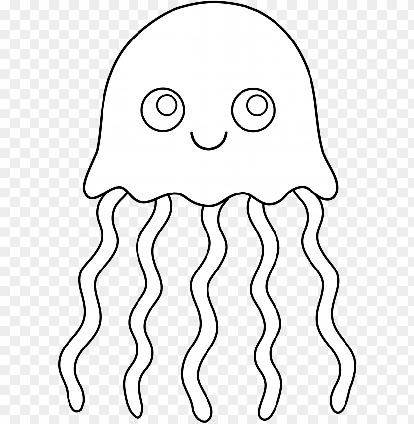 free PNG cute colorable jellyfish - jellyfish clipart black and white PNG image with transparent background PNG images transparent