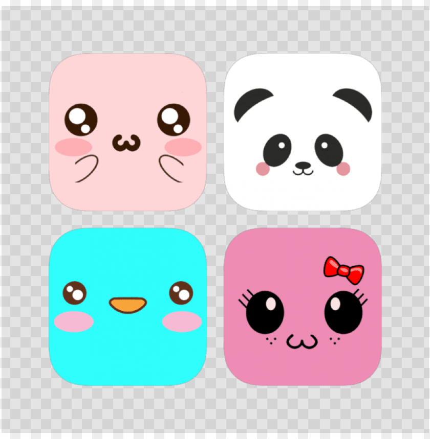 Cute Kawaii Stickers Bundle 4 Cartoo Png Image With
