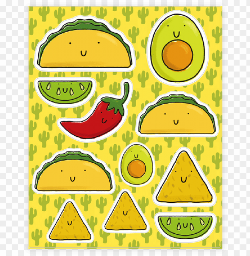free PNG cute mexican food sticker/decal sheet - mexican food sticker PNG image with transparent background PNG images transparent