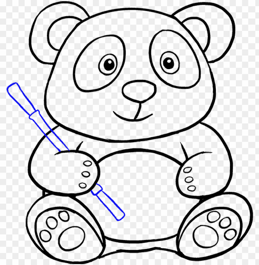 Gambaran Panda Lucu Sketsa