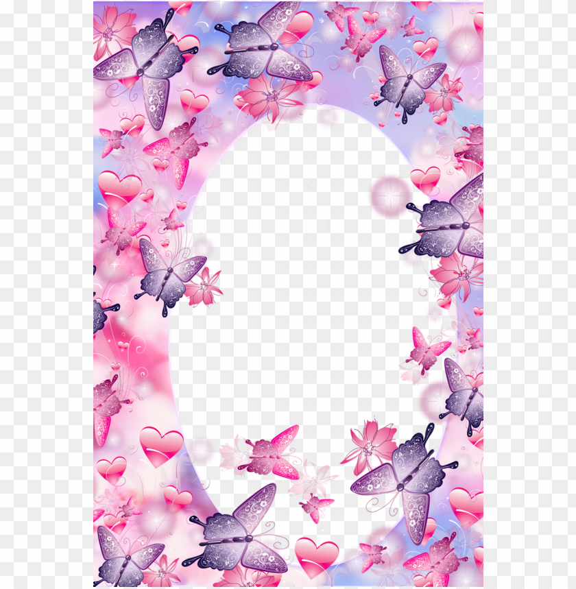 free PNG cute pink and purple butterfly frame - pink and purple frames PNG image with transparent background PNG images transparent
