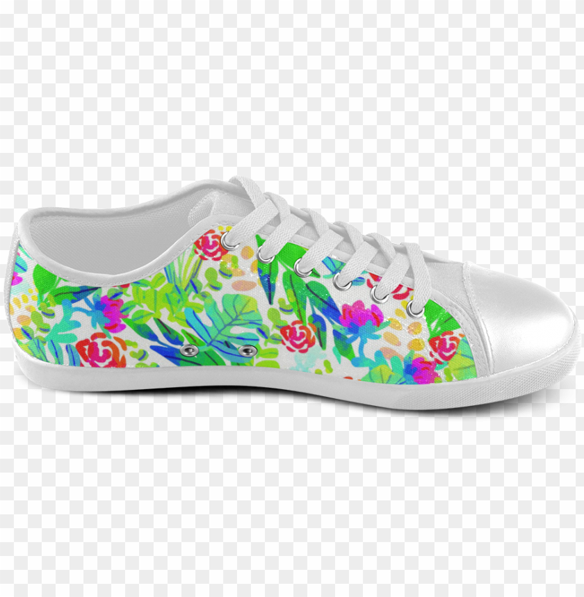 free PNG cute tropical watercolor flowers women's canvas shoes - slip-on shoe PNG image with transparent background PNG images transparent