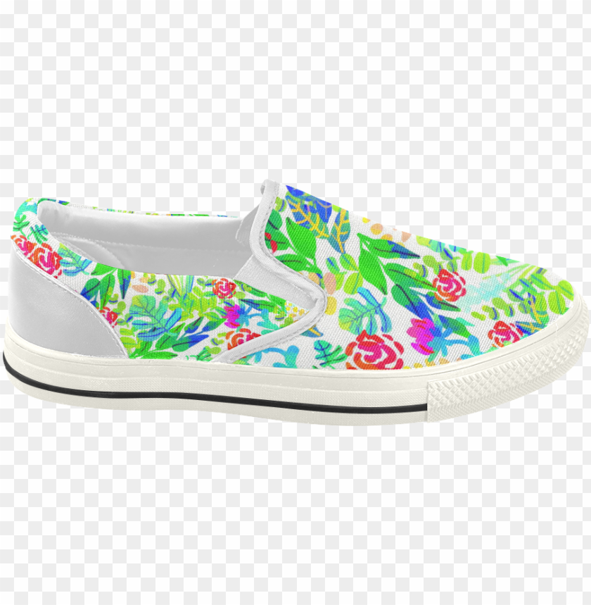 free PNG cute tropical watercolor flowers women's slip-on canvas - slip-on shoe PNG image with transparent background PNG images transparent