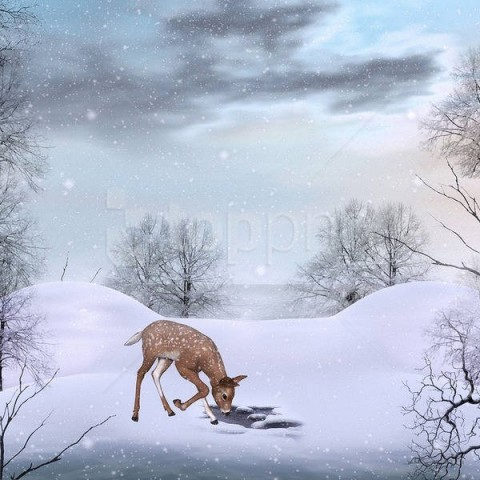 free PNG cute winterwith deer background best stock photos PNG images transparent