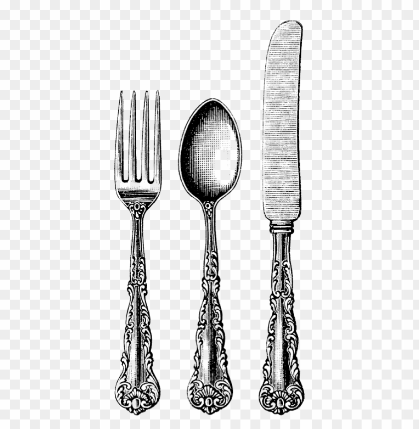 free PNG cutlery trio vintage PNG image with transparent background PNG images transparent