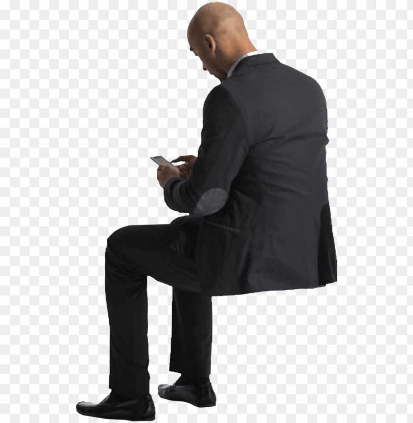 free PNG cutout man sitting phone back - people sitting back PNG image with transparent background PNG images transparent