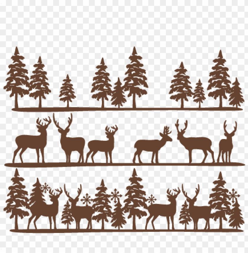 free PNG deer clipart border - svg deer and tree scene PNG image with transparent background PNG images transparent