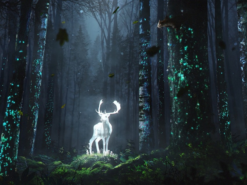 free PNG deer, forest, night, glow, art, grass, trees, leaves background PNG images transparent