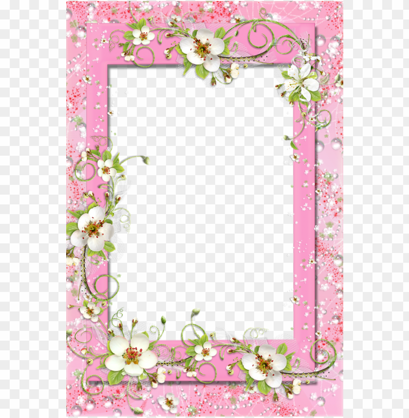 free PNG delicate pink photo frame with fl flower decorations - pink butterfly and flower border and frame PNG image with transparent background PNG images transparent
