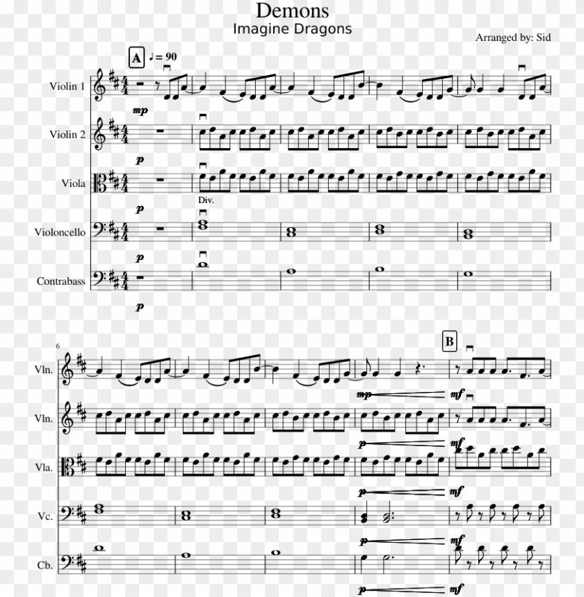 free PNG demons sheet music for violin, viola, cello, contrabass - sheet music PNG image with transparent background PNG images transparent