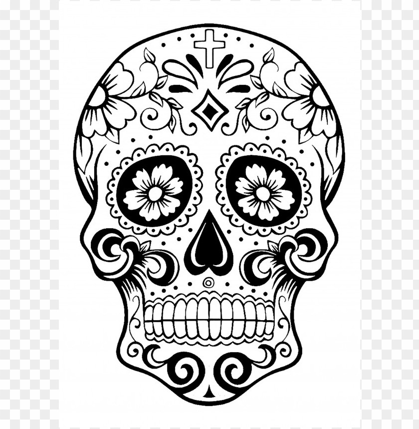 - Dia De Los Muertos Skull Coloring Pages Colored PNG Image With Transparent  Background TOPpng