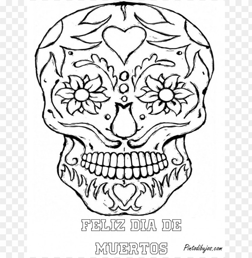 Dia De Los Muertos Skull Coloring Pages Colored Png Image With Transparent Background Toppng