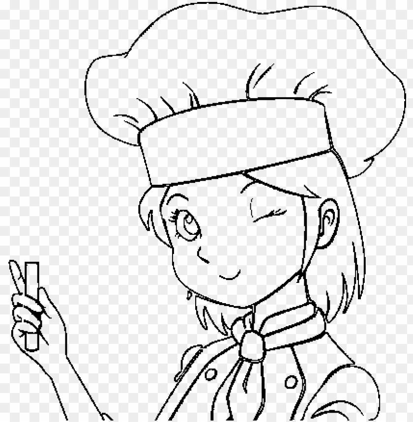 Dibujo De Cocinera Para Colorear Girl Chef Coloring Pages Png