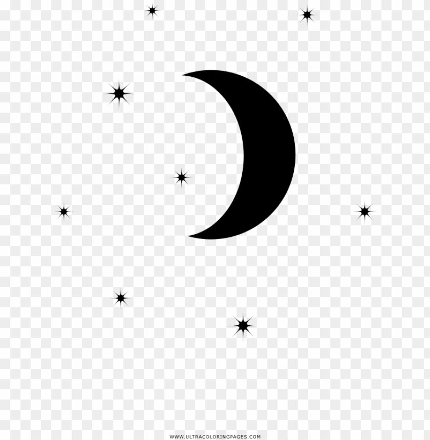 Dibujo De Luna Y Estrellas Para Colorear Circle Png Image