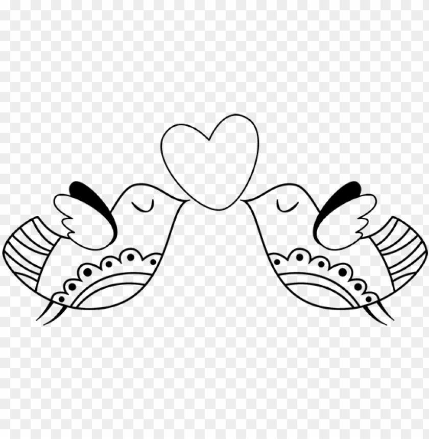 free PNG dibujo de pájaros con corazón para colorear - pajaritos enamorados para dibujar PNG image with transparent background PNG images transparent