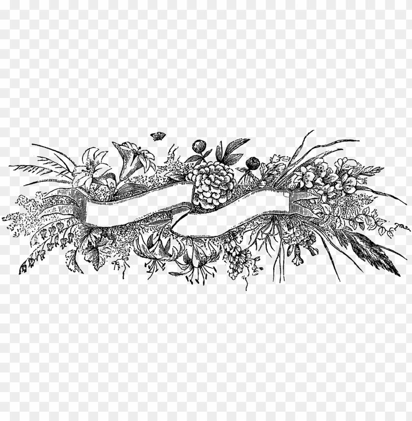 free PNG digital stamp design - black and white vintage floral floral banner free PNG image with transparent background PNG images transparent
