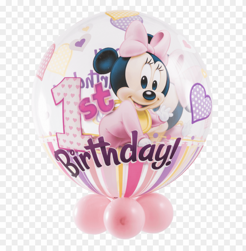 "free PNG disney minnie mouse 1st birthday bubble balloon - 22"" minnie mouse 1st birthday bubble balloons - mylar PNG image with transparent background PNG images transparent"