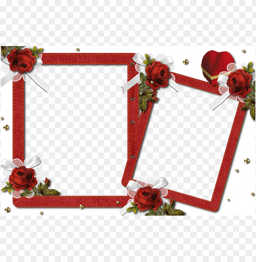 free PNG double romantic transparent photo frame with roses background best stock photos PNG images transparent