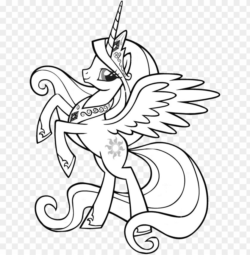 free PNG download princess celestia little pony - my little pony princess celestia coloring page PNG image with transparent background PNG images transparent