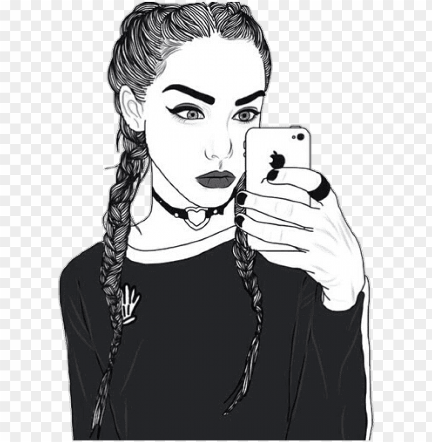 drawing of a girl with french braids PNG image with