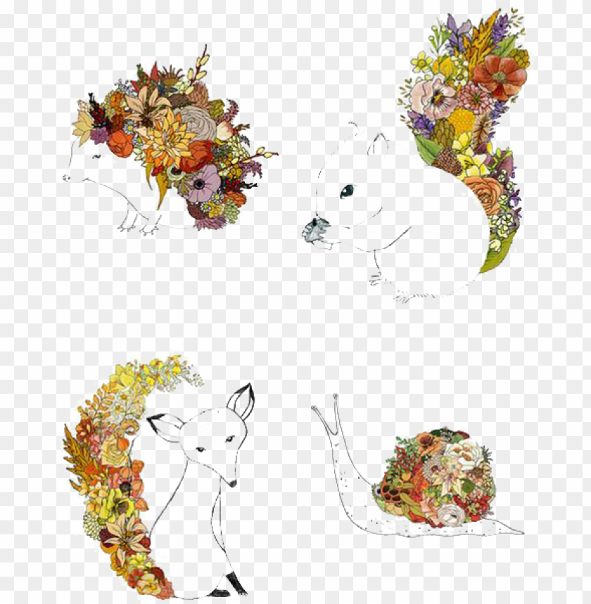 free PNG drawing watercolor painting illustrator illustration - drawing flower with animal PNG image with transparent background PNG images transparent