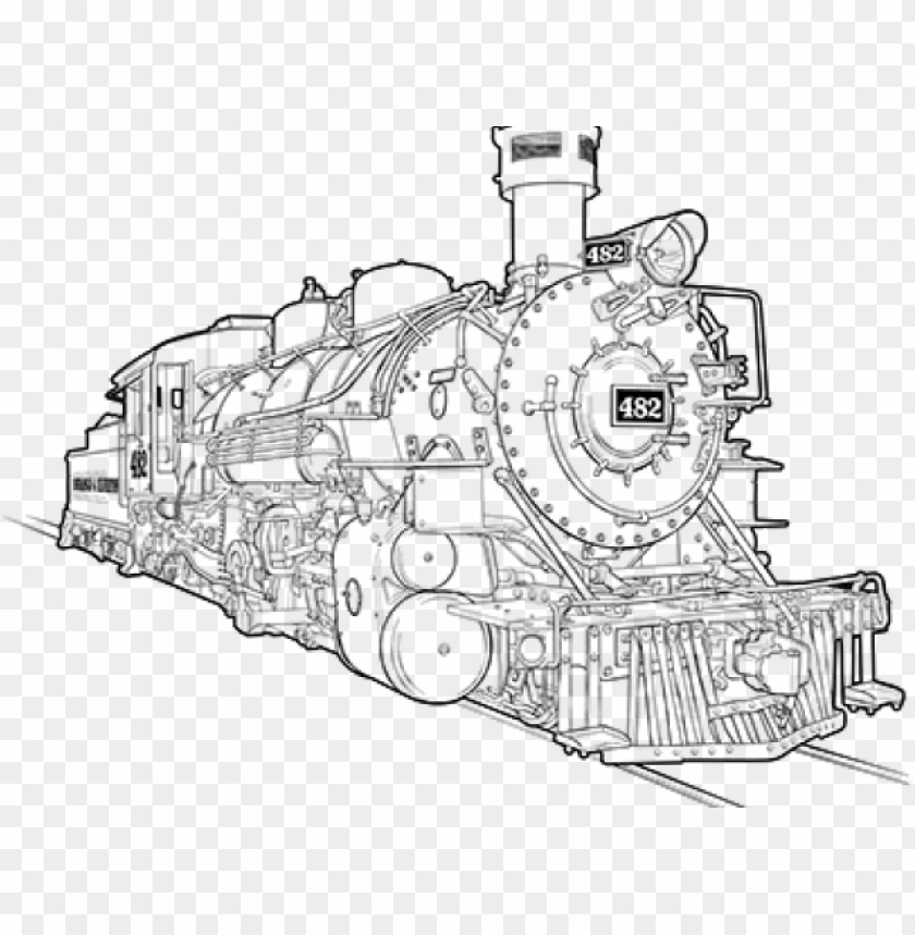 free PNG drawn railroad steam powered train - drawing pic of train engine PNG image with transparent background PNG images transparent
