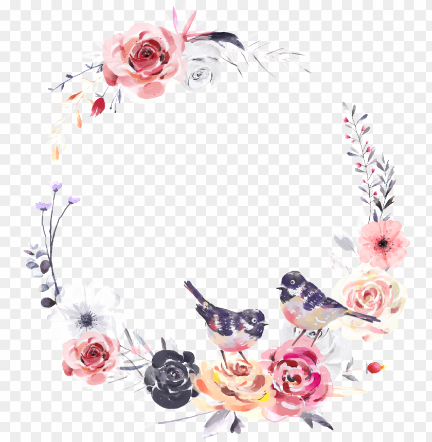free PNG dreamlike watercolor flower and bird wreath png transparent - watercolor transparent floral wreath PNG image with transparent background PNG images transparent