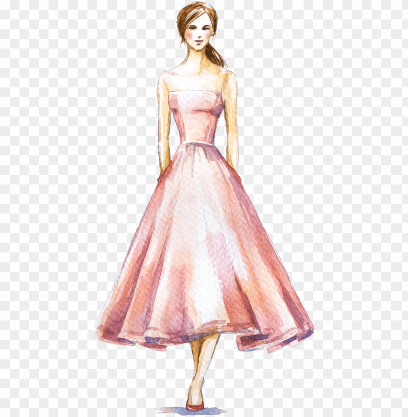 free PNG dress fashion illustration watercolor - fashion illustration dress PNG image with transparent background PNG images transparent