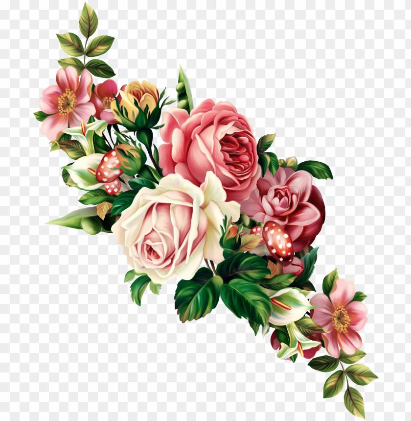 free PNG each flower clipart floral swag - flowers vintage illustration PNG image with transparent background PNG images transparent
