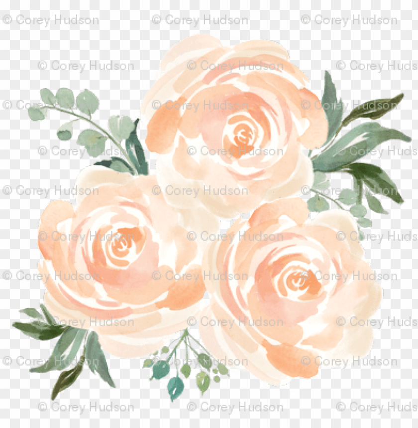 free PNG each watercolor floral bunch - peach floral watercolor PNG image with transparent background PNG images transparent