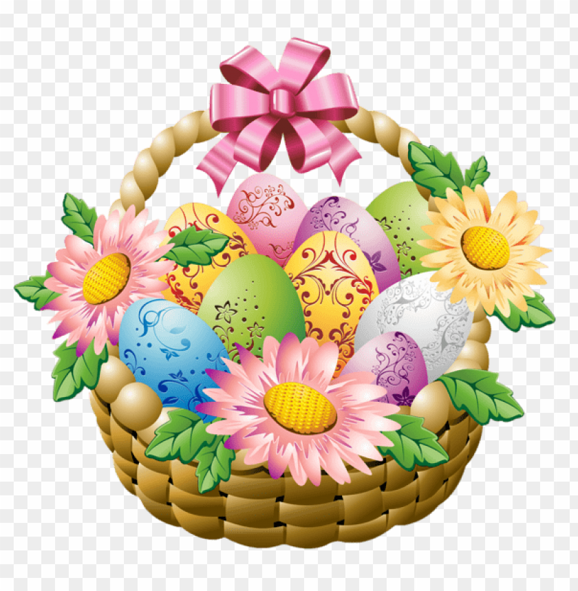 free PNG Download easter basket with easter eggs and flowers png images background PNG images transparent