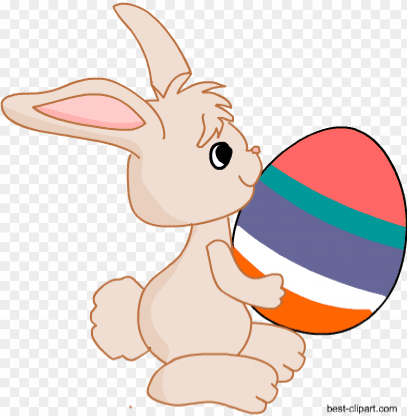 free PNG easter bunny holding a big colorful easter egg - easter e PNG image with transparent background PNG images transparent