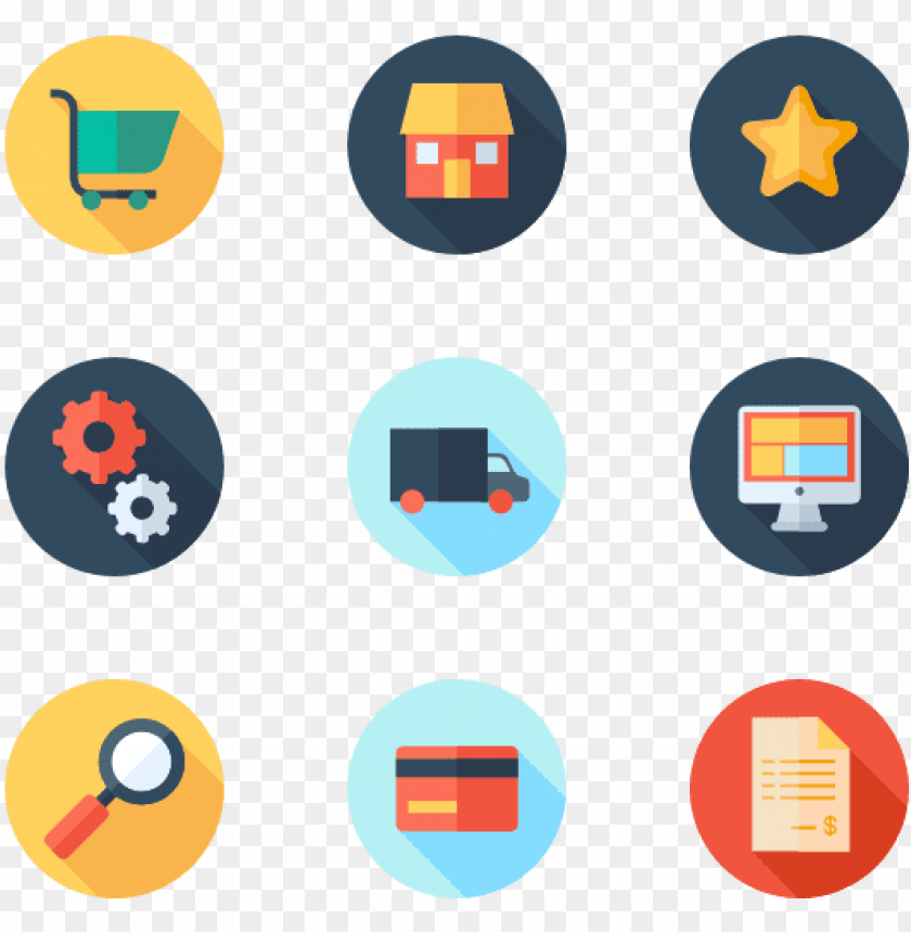 free PNG ecommerce 50 icons - flat color ico PNG image with transparent background PNG images transparent