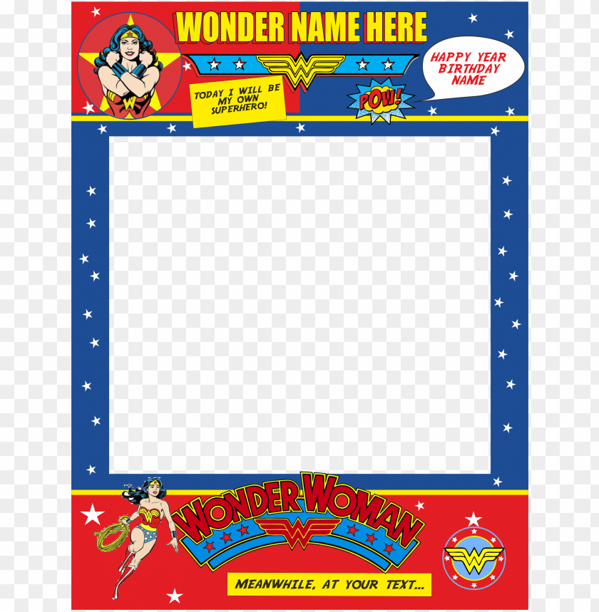 free PNG editable wonder woman photo prop frame, photo booth - wonder woman photo prop frame PNG image with transparent background PNG images transparent