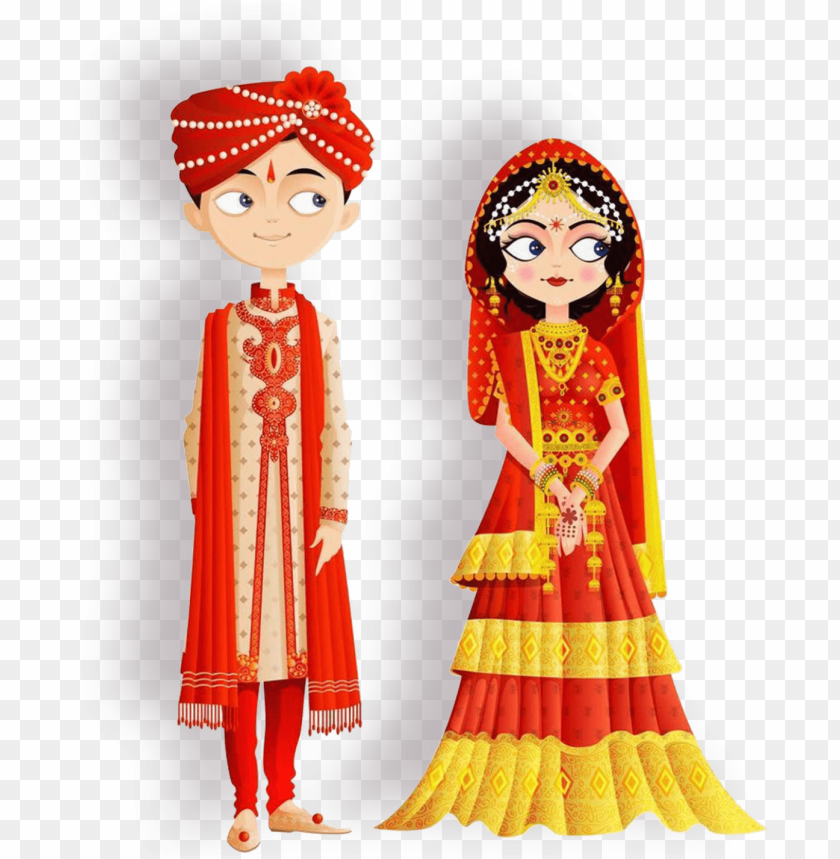 free PNG eed custom wedding invitation video - cartoon indian wedding couple PNG image with transparent background PNG images transparent
