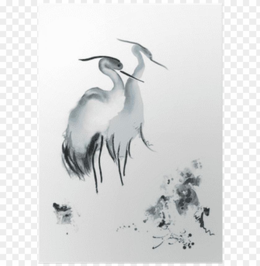 free PNG elegant birds framed painting print size: 30 x 45cm PNG image with transparent background PNG images transparent