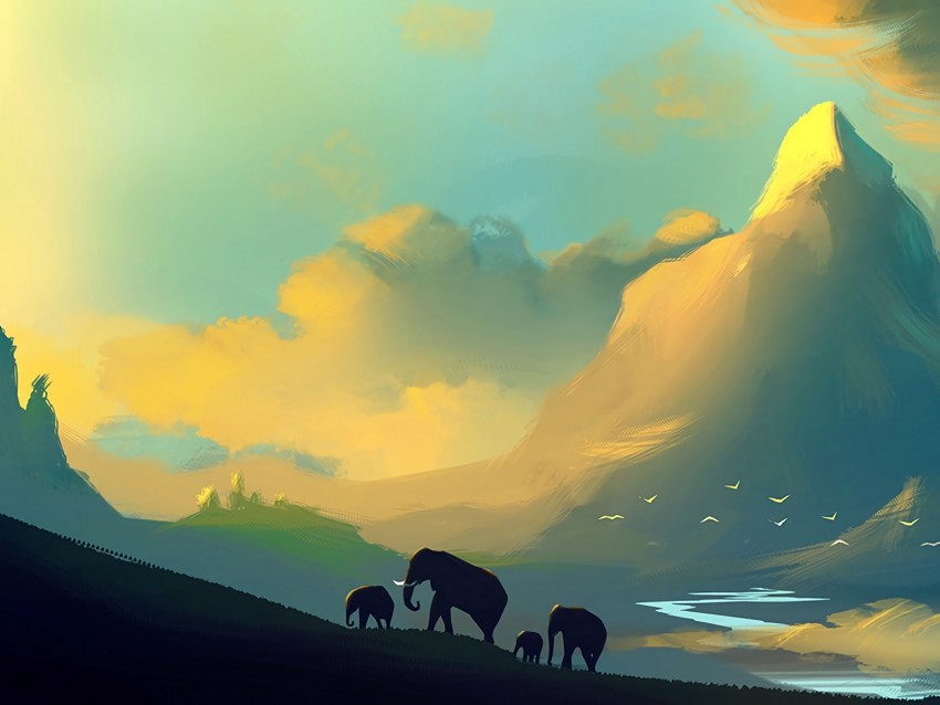 free PNG elephants, landscape, picture, family, wildlife background PNG images transparent