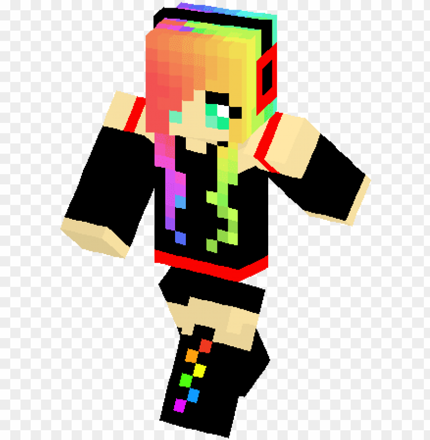 free PNG emo rainbow girl skin - minecraft ski PNG image with transparent background PNG images transparent