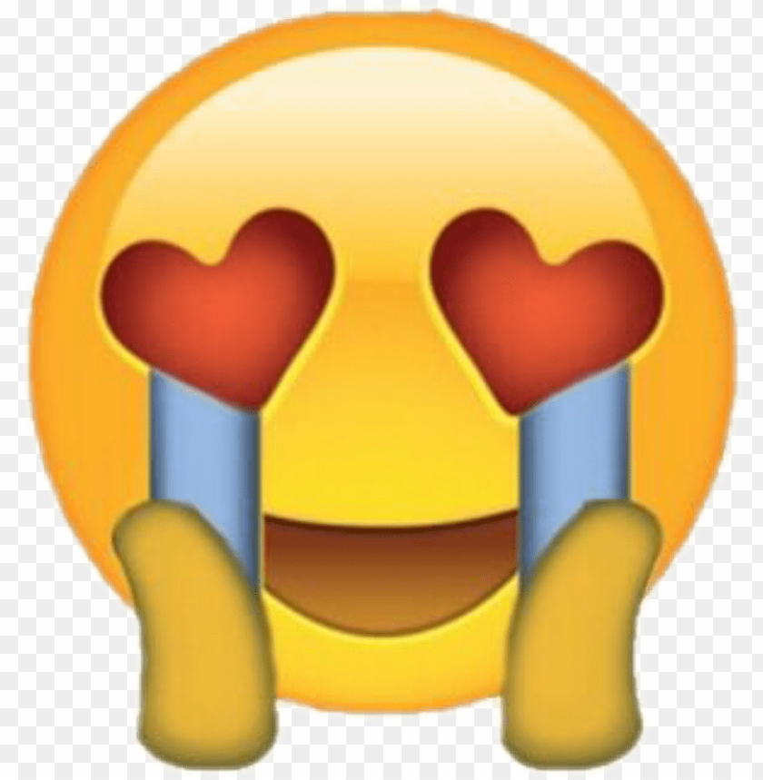 free PNG emoji love heart crying tears omg cute - heart eyes crying emoji PNG image with transparent background PNG images transparent