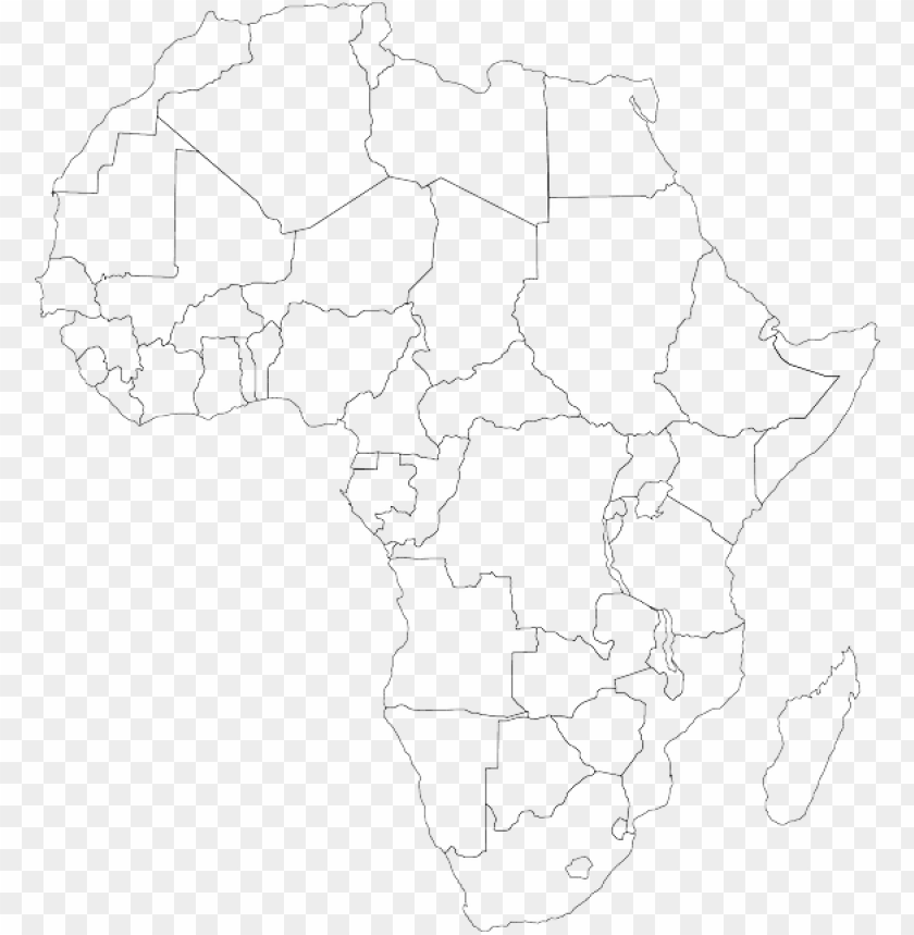 free PNG empty black, africa, outline, map, silhouette, white, - map of africa black and white PNG image with transparent background PNG images transparent