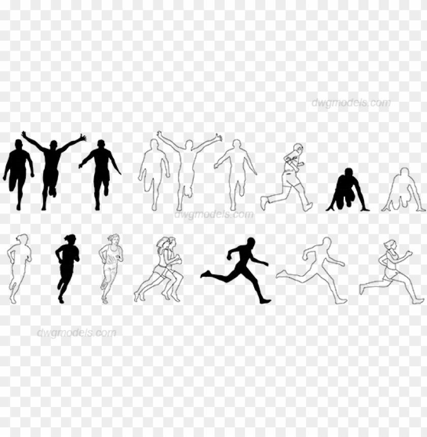 free PNG eople running dwg, cad blocks, free download - running people cad block PNG image with transparent background PNG images transparent