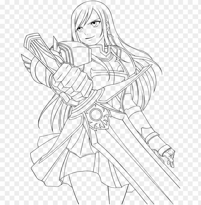 free PNG erza scarlet fairy tail coloring pages sketch coloring - erza scarlet fairy tail coloring pages PNG image with transparent background PNG images transparent