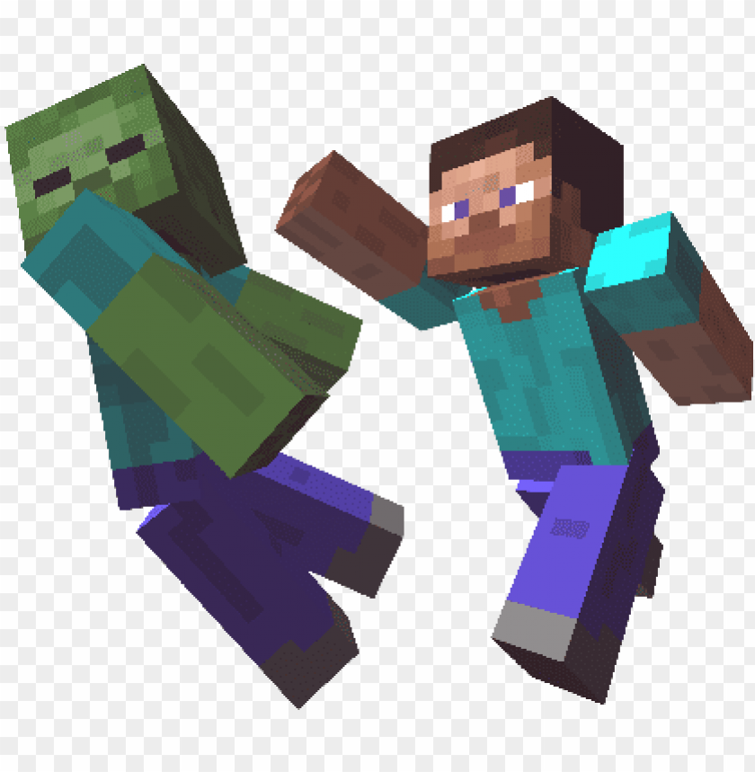 Et The Timing Right And You Ll Be Taking Down Monsters Minecraft Steve Fighting Zombies Png Image With Transparent Background Toppng