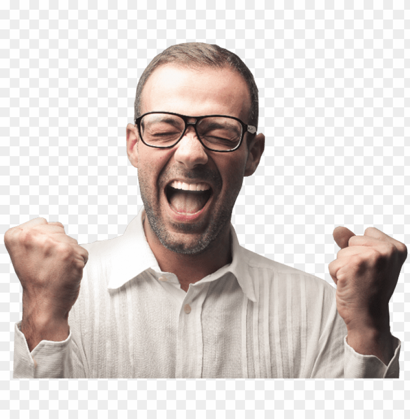 free PNG excited man with glasses rejoicing him success - glasses people PNG image with transparent background PNG images transparent