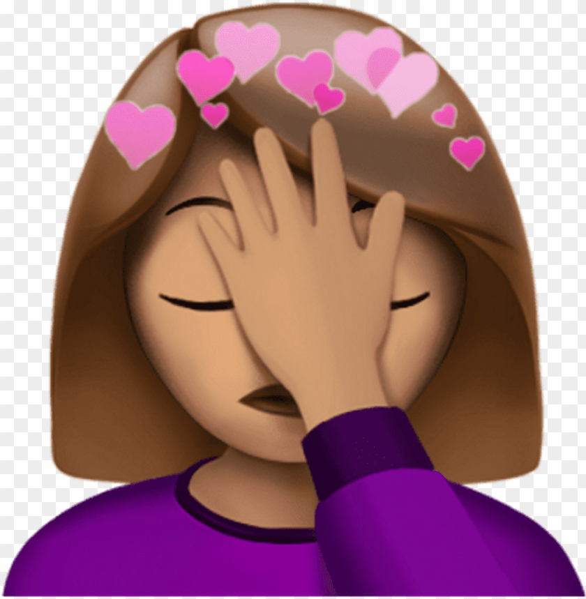 free PNG facepalm stickers girl heart heartcrown pink pinkhearts - emoji con la mano en la cara PNG image with transparent background PNG images transparent